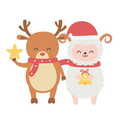 cute sheep and reindeer with star and bell merry vector image