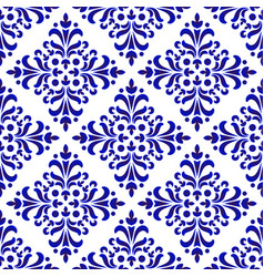 decorative floral blue pattern vector image