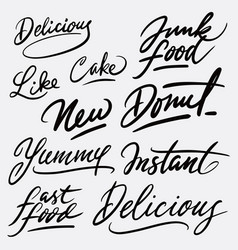 Delicious and yummy hand written typography vector