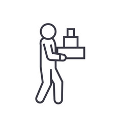 delivery man linear icon sign symbol on vector image