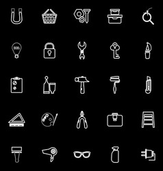DIY line icons on black background vector image