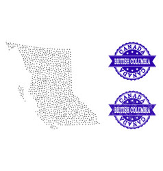 Dotted map of british columbia province and grunge vector