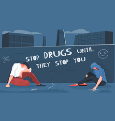 Drug addiction flat composition vector