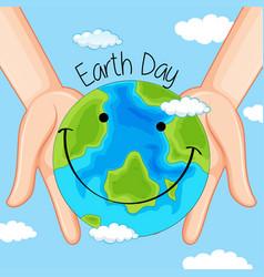 Earth day in hands vector