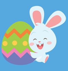 Easter egg with bunny character vector