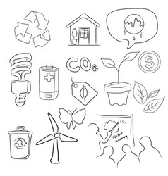 eco green icon set environment in sketch vector image