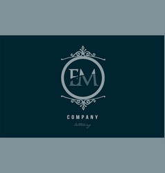Em e m blue decorative monogram alphabet letter vector