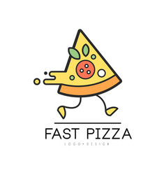 fast pizza logo design food service delivery vector image