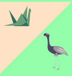 Figurine origami and bird crane vector