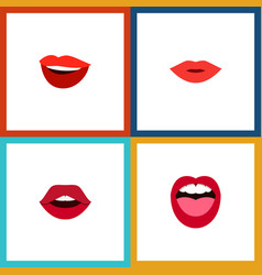 flat icon lips set of teeth tongue laugh and vector image