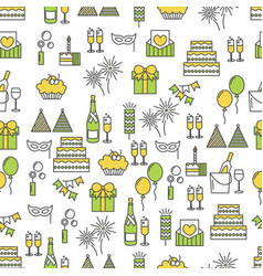 Flat line art celebration seamless pattern vector