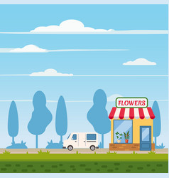 Flower shop store delivery truck landscape vector
