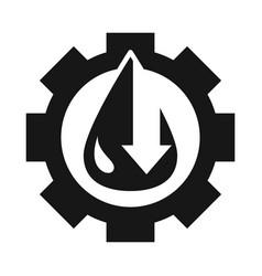 Gear with drop down arrow trade crisis economy vector