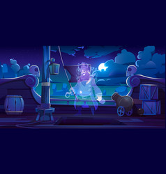 Ghost pirate on ship deck at night vector