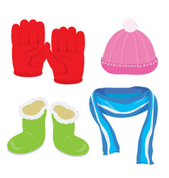 gloves hat boots scarf cartoon vector image