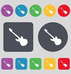 Guitar icon sign A set of 12 colored buttons Flat vector image