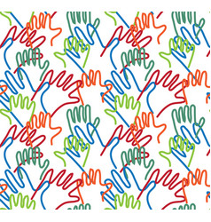 hand arms palms lines seamless pattern vector image