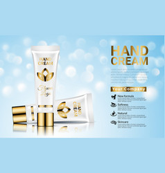 hand cream moisturizing cosmetic white gold ads vector image
