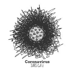 Hand drawn coronavirus sars-cov-2 vector