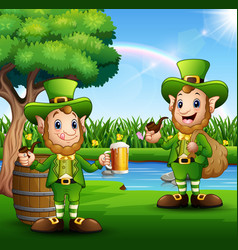 happy saint patricks day leprechaun in the park vector image