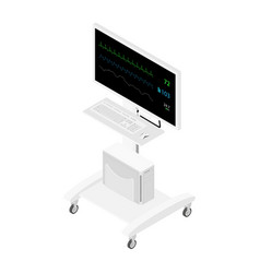 Hospital vital signs monitor isometric view vector