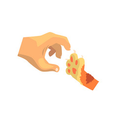 human hand and cat paw friends forever training vector image