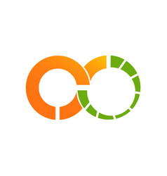 infinity design logo template with green orange vector image
