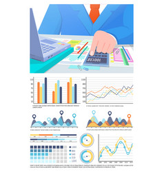 Infographics and business man calculating info vector