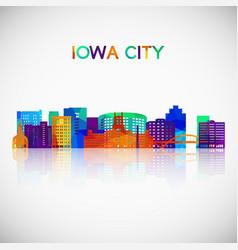 iowa city skyline silhouette vector image