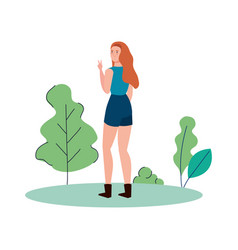Isolated avatar woman backwards at park vector