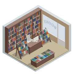 isometric book shop interior isolated on white vector image