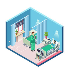 Isometric hospital room patient doctor vector