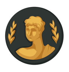 Julius caesar gold portrait and olive branches vector