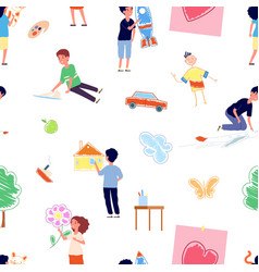 kids drawing young painters children vector image