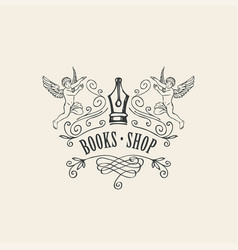 Logo or icon for books shop with nib and angels vector