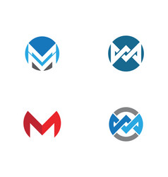 M letter logo template icon vector