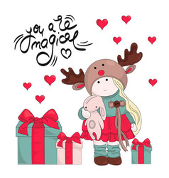 Magic gifts merry christmas color vector