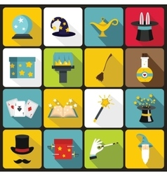 Magic icons set flat style vector image
