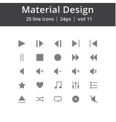 Material design play line icons vector