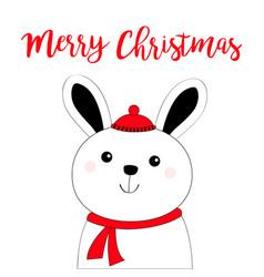 merry christmas bunny rabbit hare face head black vector image