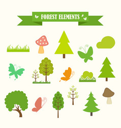 multicolored icons with tape on topic forest vector image