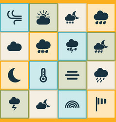 Nature icons set collection of douche wet vector