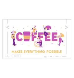 people drink coffee website landing page men vector image