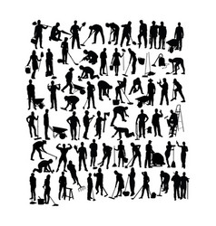 People working activity silhouettes vector