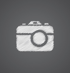 Photo camera sketch logo doodle icon vector