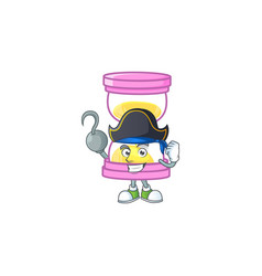 Pirate cartoon sandglass with character mascot vector