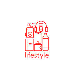 red personal items like lifestyle isolated on vector image