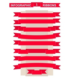 Red ribbon set for remarkable title vector image