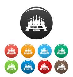 ribbon bowling club icons set color vector image