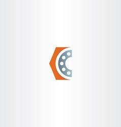 Roller bearing letter c logo icon vector